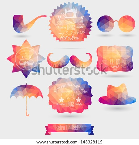 Vector Hipster background made of geometric pattern. Retro labels design. Square composition with geometric shapes. Hipster theme label. Mustache. Hat. Umbrella. Star. Sun glasses. - stock vector