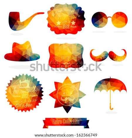 Vector Hipster background made of geometric pattern. Retro labels design. Square composition with geometric shapes. Hipster theme label. Mustache. Hat. Umbrella. Star. Sun glasses. Flat design. - stock vector