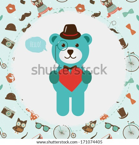 Vector Hipster  Bear Head greeting card design vector illustration. In Textured Frame and Hipster Pattern