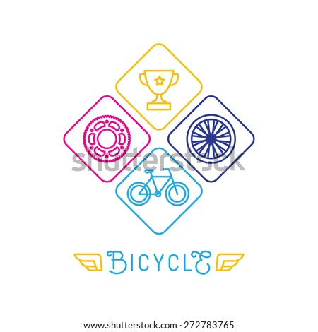 Vector hipster bicycle logo template - icons in trendy linear style - stock vector