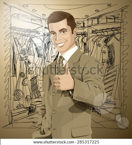 Vector hipster business man shows well done on shopping - stock vector