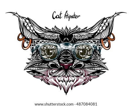 Vector Hipster Cat Isolated On The White Background Can Be Used For Case