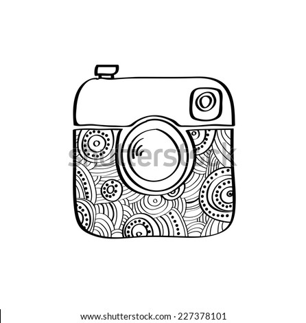 Vector hipster doodle camera icon