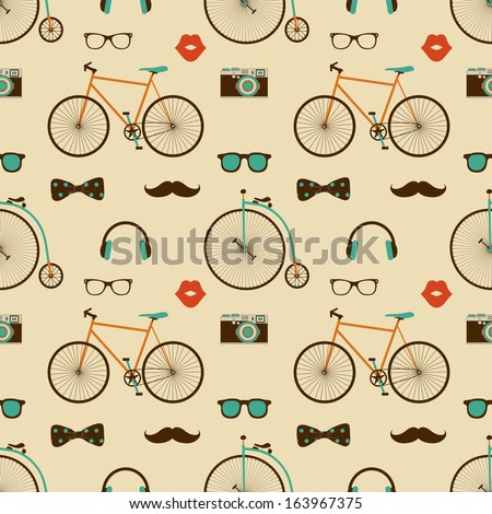Vector Hipster Doodles Colorful Seamless Pattern, Background - stock vector
