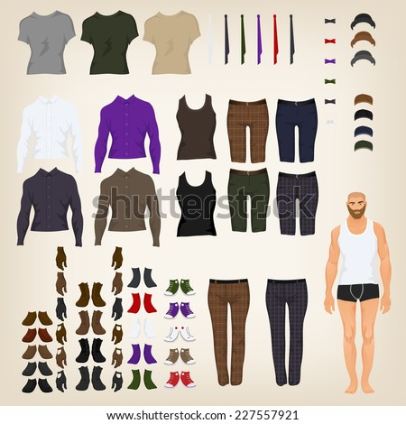 Vector hipster dress up doll with an assortment of hipster clothes - stock vector
