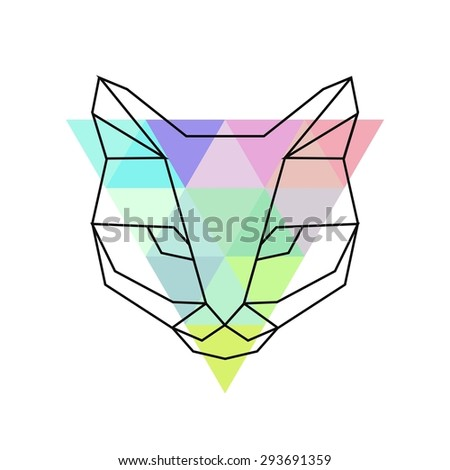 Geometric Cat Head Vector Hipster Geometric Head