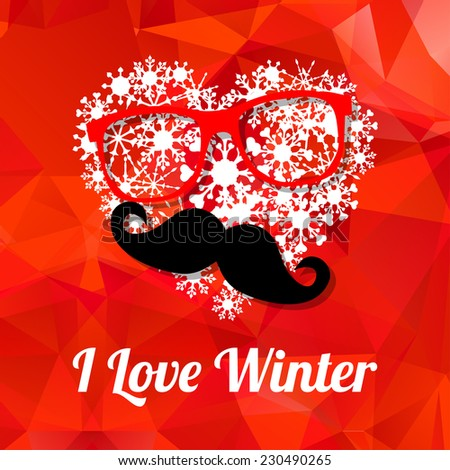 Vector Hipster happy new year card with glasses, mustache and a heart of snowflakes  background. New year party invitation template. Merry Christmas card template. - stock vector