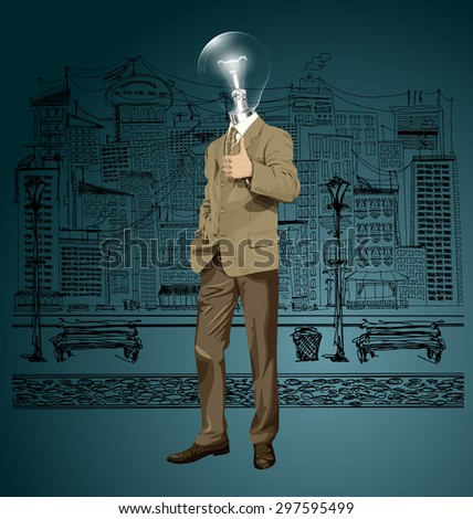 Vector hipster lamp head business man have an idea and shows well done on the sketch street - stock vector