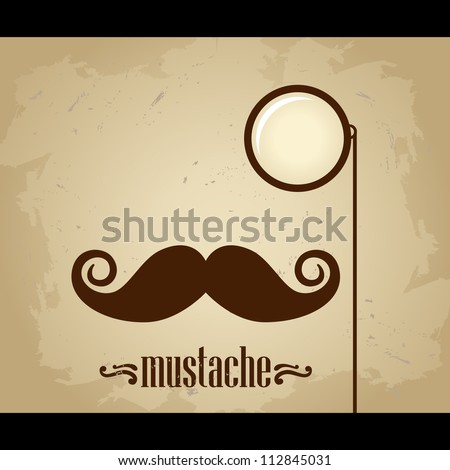 Vector hipster mustache and monocle - stock vector