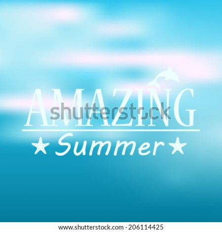 Vector hipster, retro, abstract, colorful, blurred, defocused summer background with text
