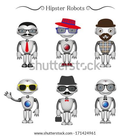 vector hipster robots - stock vector