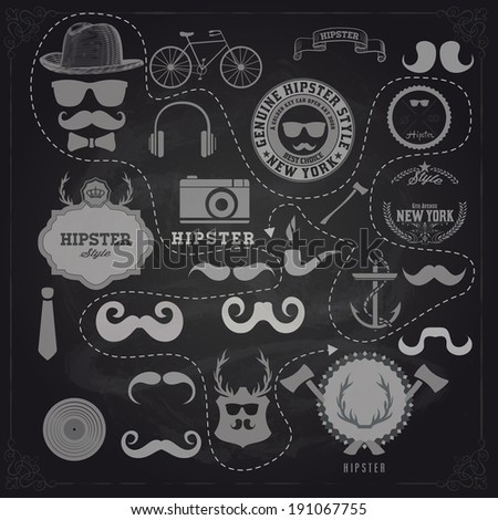 Vector Hipster style design elements and icons set over black board. Sunglasses, mustache, bow, anchor, hat, camera, bike. Organized in layers. - stock vector