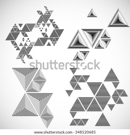 Vector Hipster Triangle Set .  - stock vector