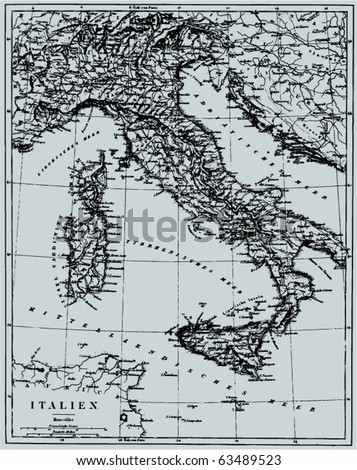 "Vector Historical map of Italy from ""The Bilderatlas"" by F. A. Brockhaus atlas published in 1851. Other vector maps in my portfolio. - stock vector"