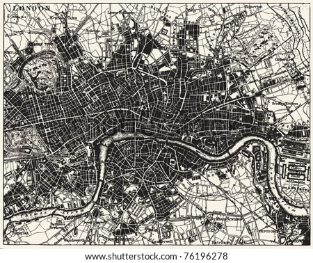 Vector Historical map of London, England, from atlas published in 1851. Other vector maps in my portfolio. - stock vector