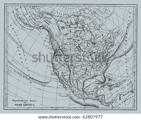 Vector Historical map of Nord America from atlas published in 1851. Other vector maps in my portfolio. - stock vector