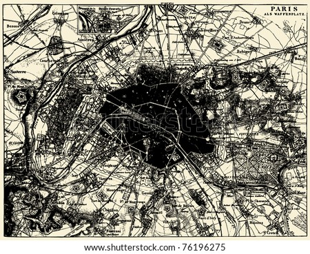Vector Historical map of Paris, France, from atlas published in 1851. Other vector maps in my portfolio. - stock vector
