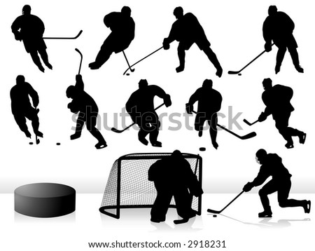 Vector Hockey Players - Silhouettes. - stock vector