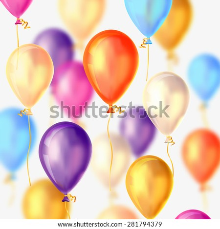 Vector holiday background - flying colorful balloons