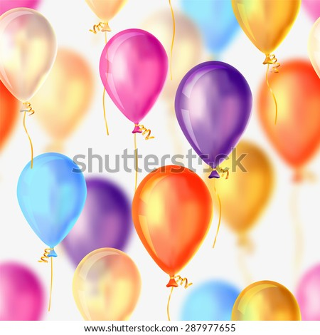 Vector holiday background - flying colorful balloons. Seamless pattern