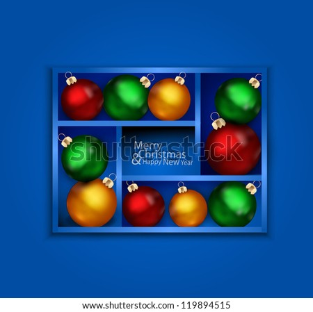 vector holiday background with blue shelf, and New Year's balls on a shelf - stock vector