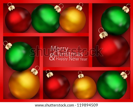 vector holiday background with red shelf, and New Year's balls on a shelf - stock vector