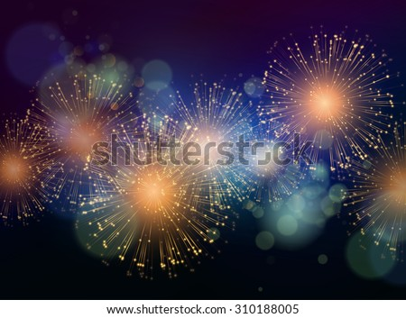 Vector Holiday Fireworks Background. Happy New Year 2016 - stock vector