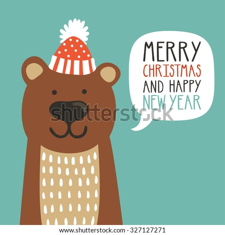 "Vector holiday illustration of a cute bear in a hat saying ""Merry Christmas and happy New Year"". Christmas background with smiling cartoon character. Winter greeting card. - stock vector"