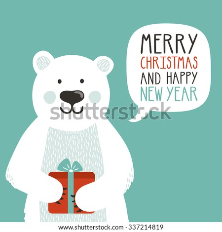 """Vector holiday illustration of a cute polar bear with gift box saying """"Merry Christmas and happy New Year"""". Christmas background with smiling cartoon character. Winter greeting card. - stock vector"""