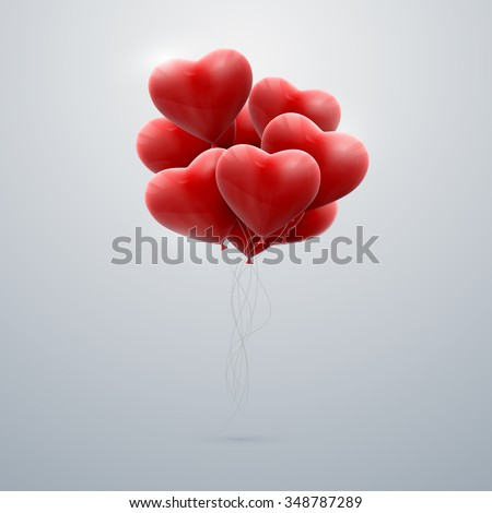vector holiday illustration of flying bunch of red balloon hearts. Happy Valentines Day - stock vector