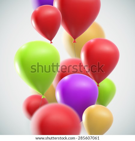 vector holiday illustration of flying realistic glossy balloons - stock vector