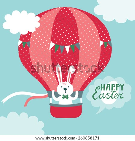 Vector holiday illustration with hot air balloon in the sky and cute bunny. Easter card. Bright childish background. - stock vector