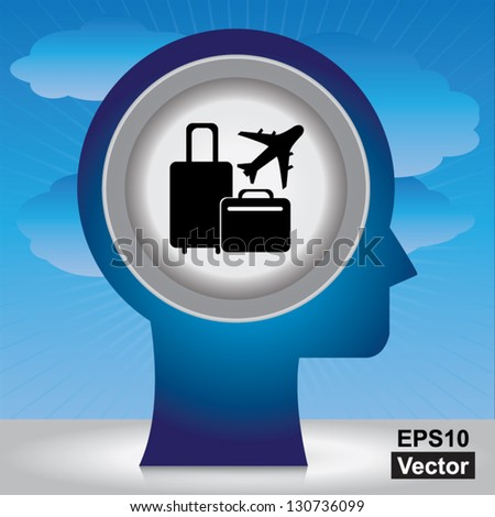 Vector : Holiday or Vacation Concept Present By Blue Head With Black Baggage and Airplane Sign Inside in Blue Sky Background - stock vector