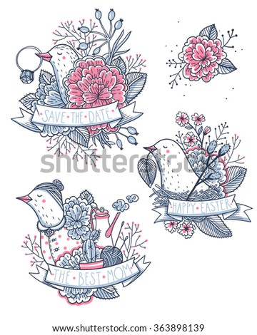 vector holiday set with funny birds for Easter, Mother's day and wedding design - stock vector