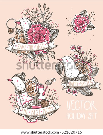 vector holiday set with funny birds for Easter, Mother's day and wedding design