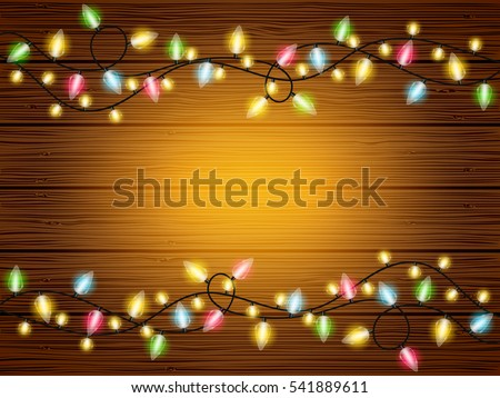 Vector holiday wood texture wallpaper background with colorful light chains