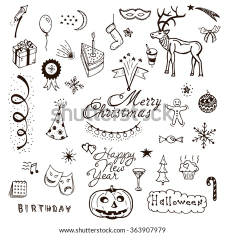 Vector Holidays doodle set. Cafe brochure menu design elements. Vector holiday with xmas hand-drawn graphic. Happy New Year invitation - stock vector