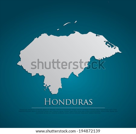 vector Honduras Map card paper on blue background, high detailed