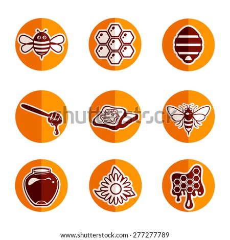 Vector honey and bee icon set - stock vector