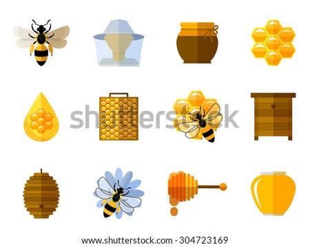 Vector honey and bee icons in flat set. Food sweet, insect and cell, honeycomb and beeswax, comb and pot illustration - stock vector