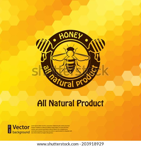 Vector honey background and bee design element for your design - stock vector