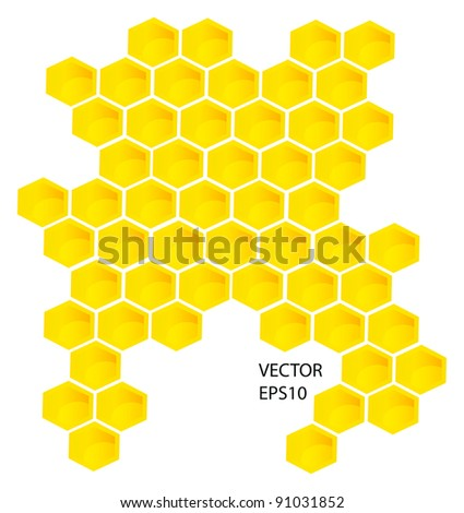 Vector honey combs background design elements isolated over white background - stock vector