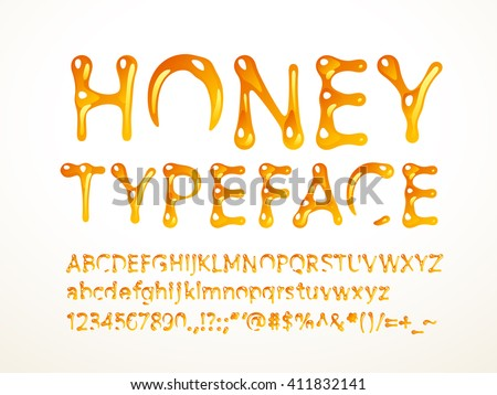 Vector honey typeface - stock vector