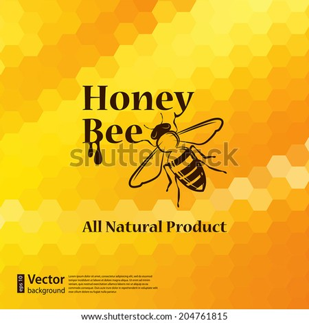 Vector honeycomb background and bee label design element for your design - stock vector