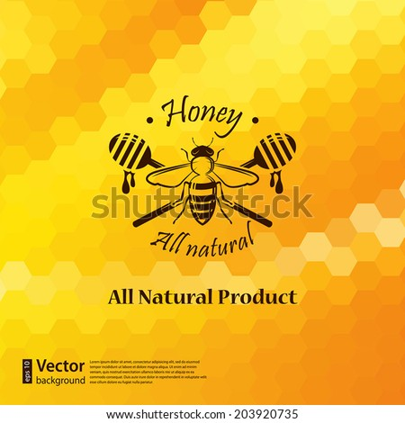 Vector honeycomb background with bee label design - stock vector
