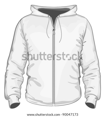 Vector. Hooded sweatshirt with zipper. - stock vector