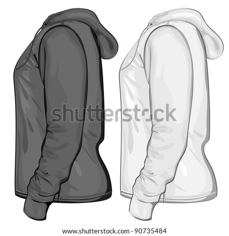 Vector. Hooded sweatshirt with zipper. Side view. - stock vector