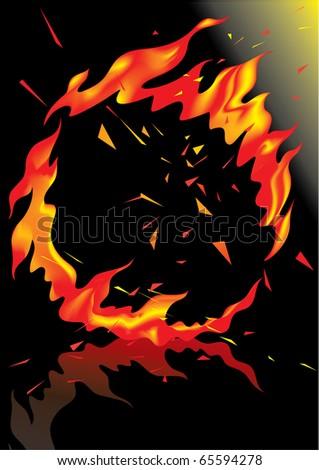 Vector. Hoop of fire, ring of fire - stock vector
