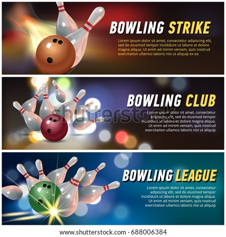 Vector Horisontal Banners for Bowling