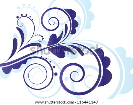 Vector Horizontal Abstract Art Flourish Gradient Background with Floral Curly Swirl Elements and Shadow